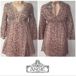 NWT Angie Red Cream Long Bell Sleeve Dress Large L